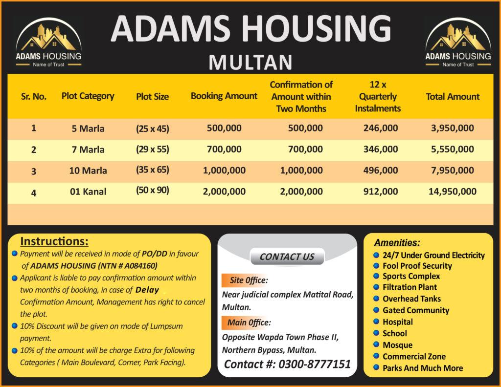 Adams Housing Multan Payment Plan