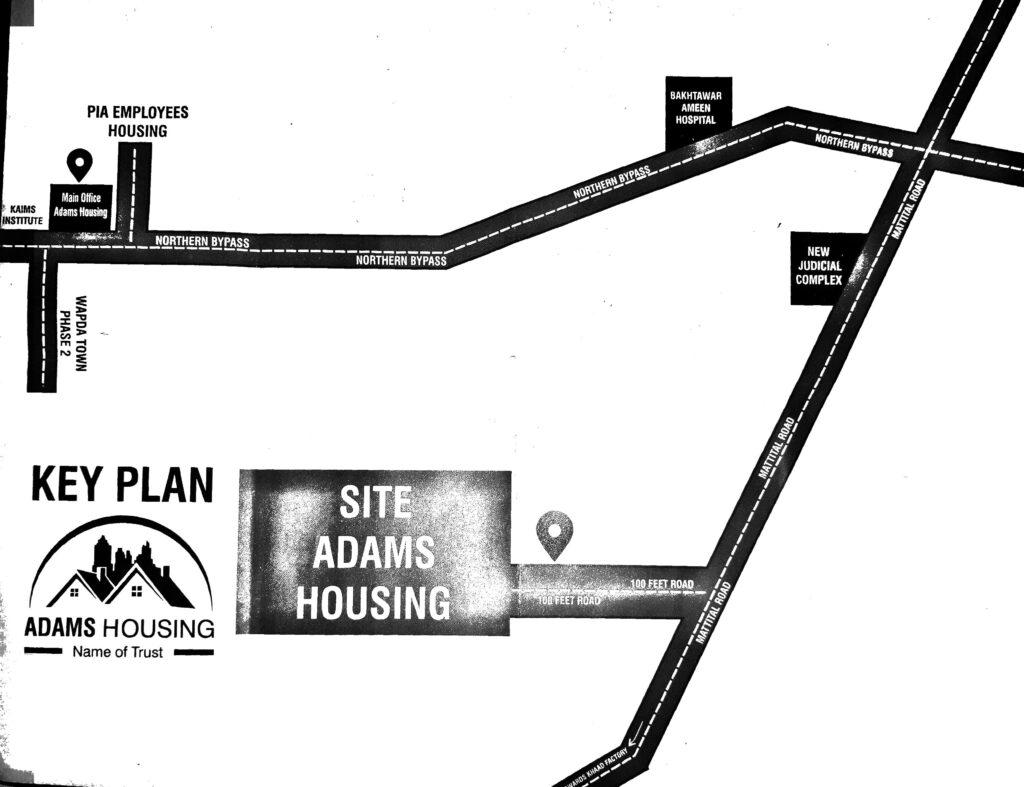 Adams Housing Multan Location map